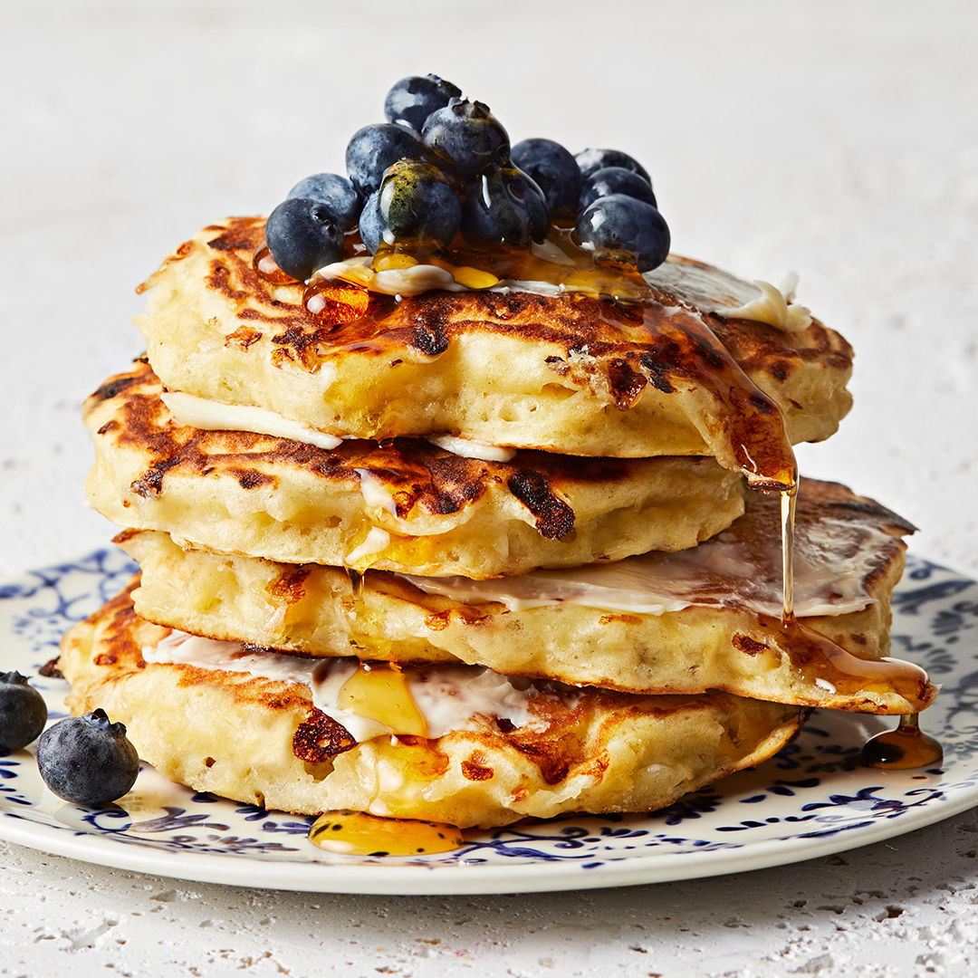 Honey Lemon Cottage Cheese Pancakes with blueberries