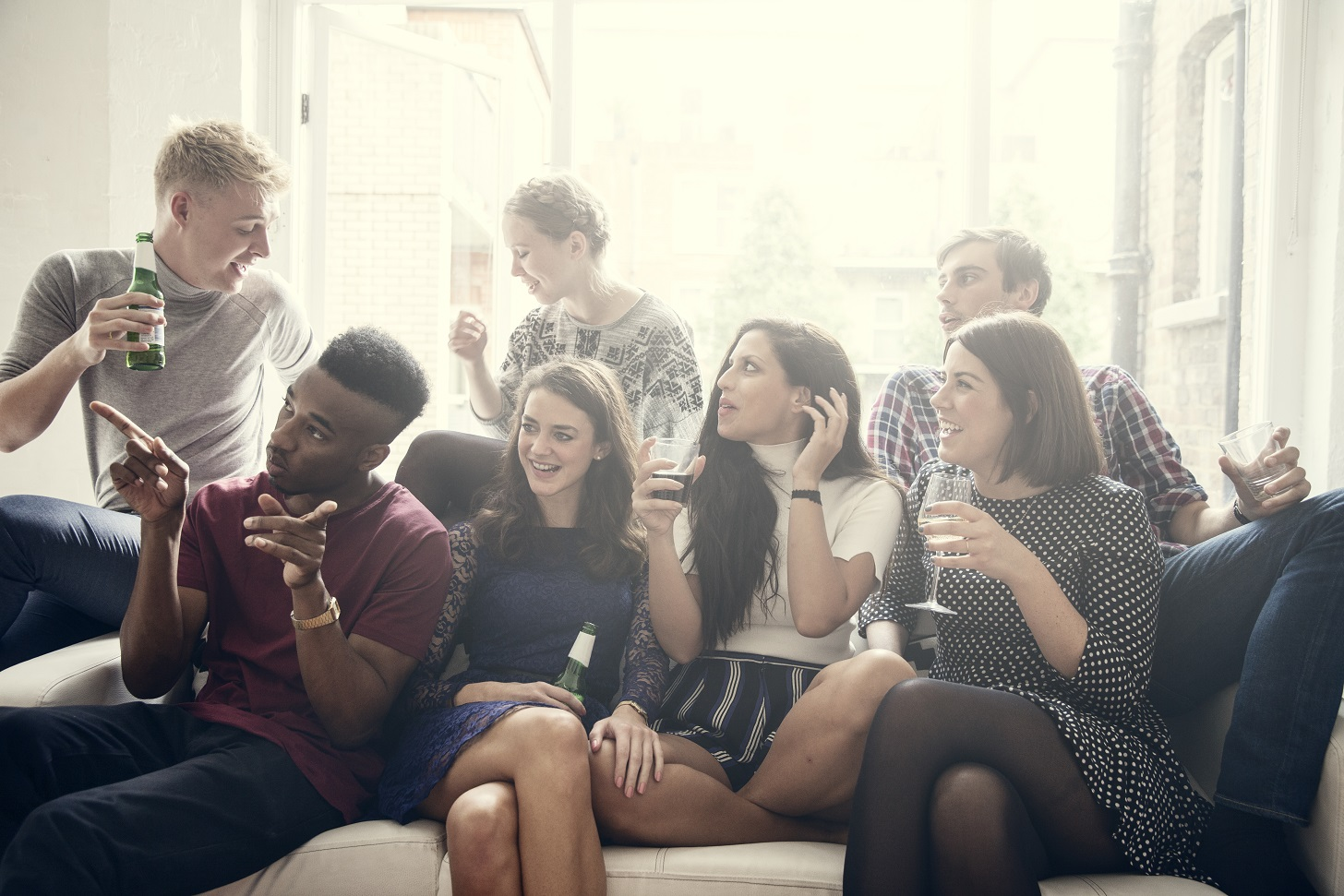group playing games at a party