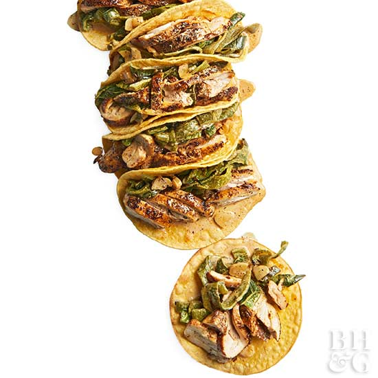 Spice-Rubbed Chicken & Poblano Tacos, tacos, chicken
