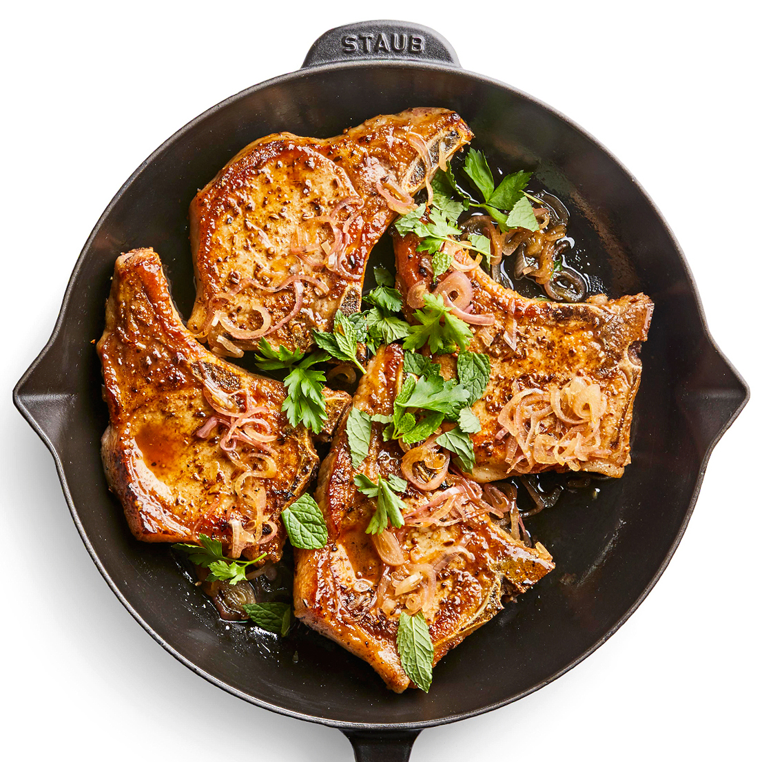 Spice-Rubbed Pork Chops in pan