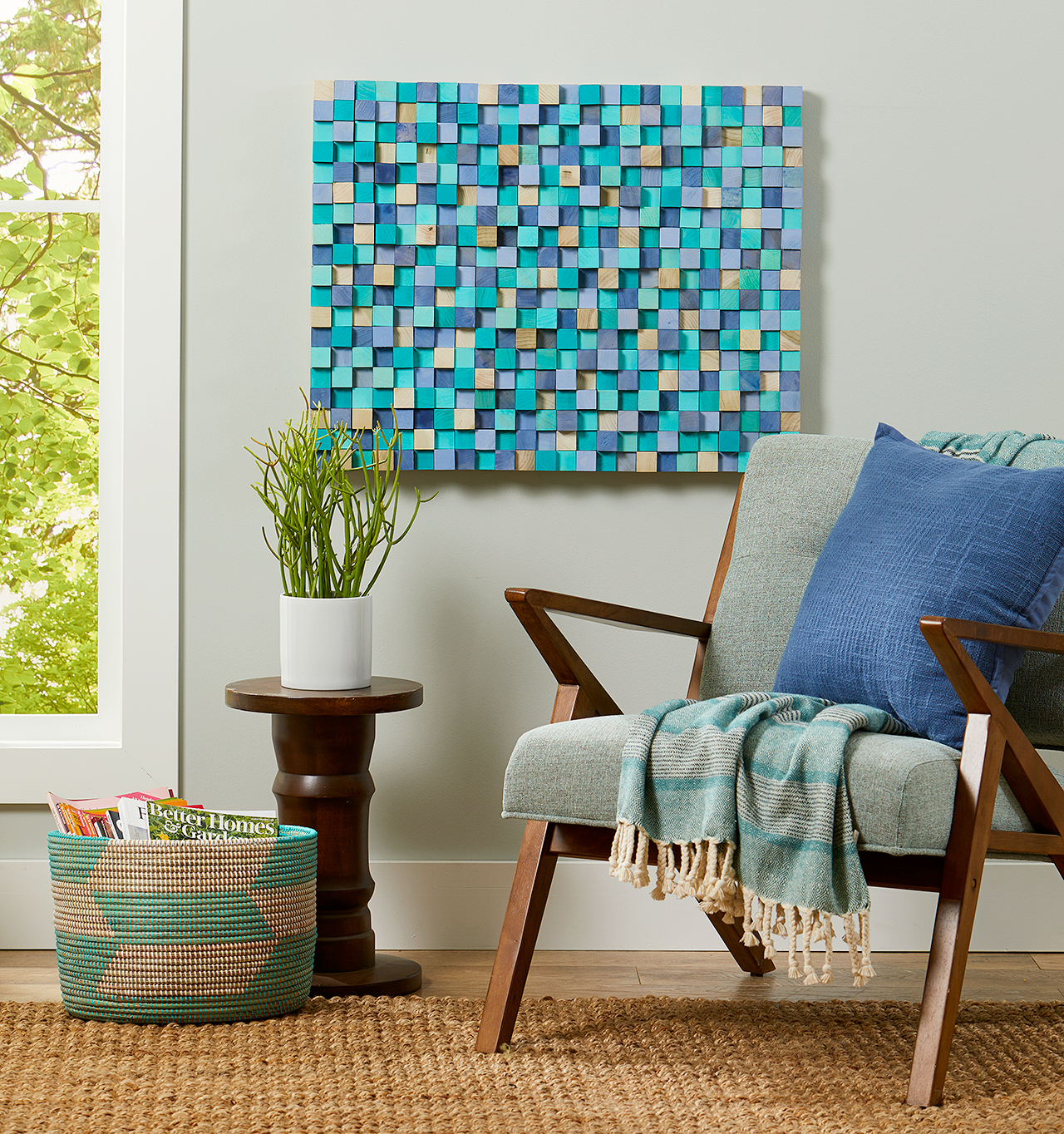 artwork made with painted square dowels