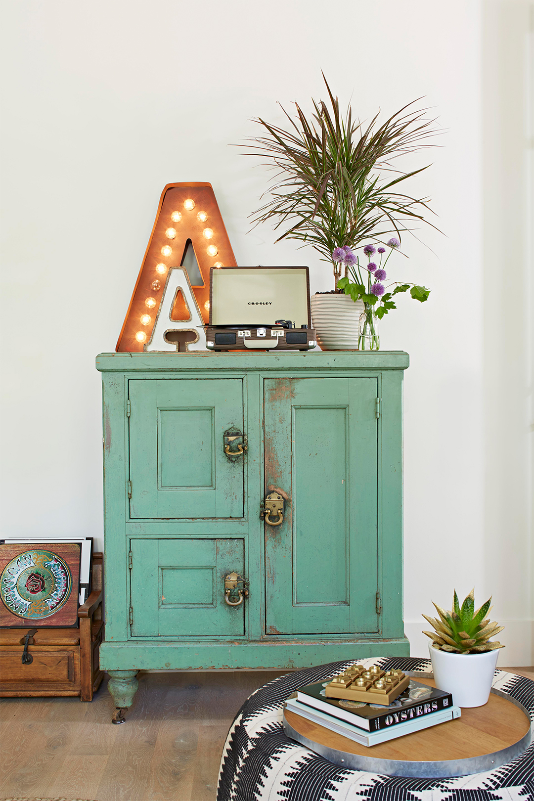 teal rustic chest arcese living room