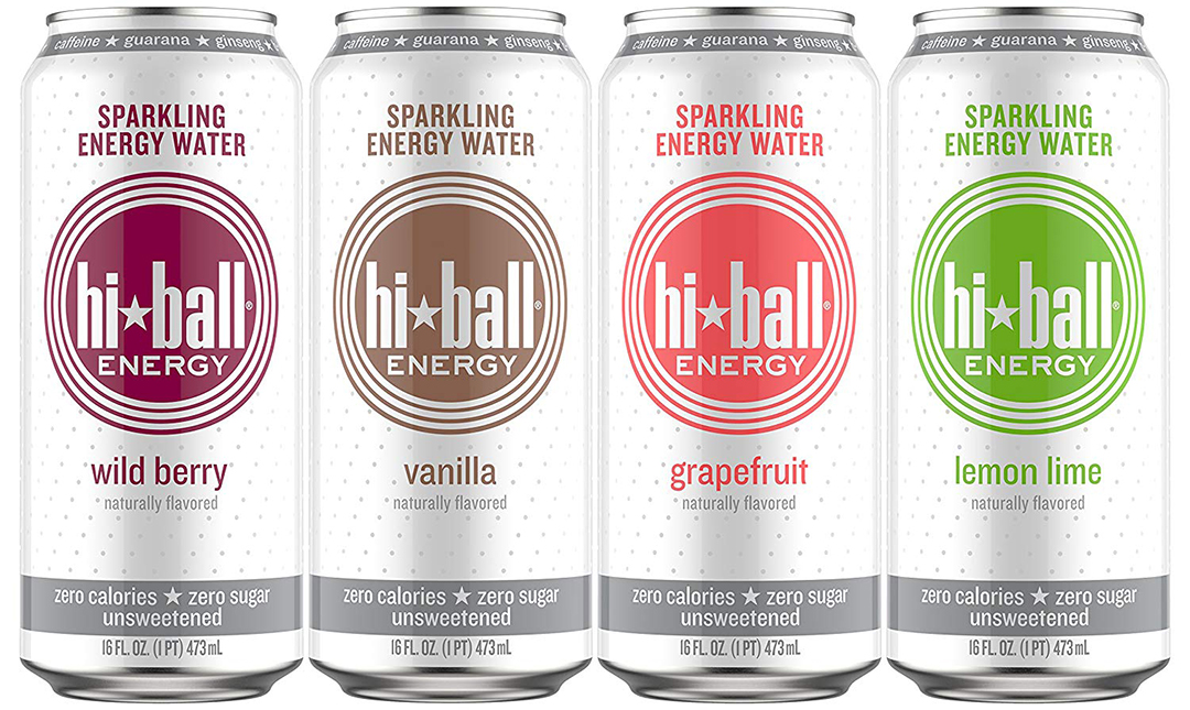 4 cans of hi-ball sparkling energy water in 4 flavors on white background