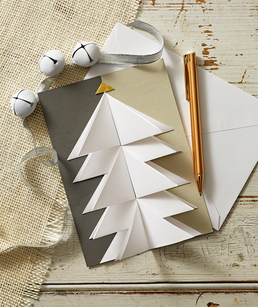 paper white christmas tree pop-up card with envelope and bells