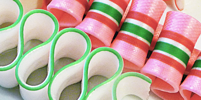 Christmas candy pink and green ribbon candy