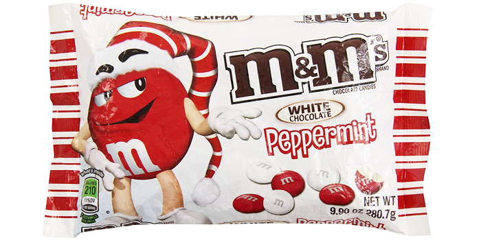 Red and white bag of m&ms