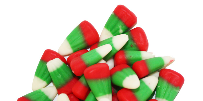 Red and green Christmas candy corn