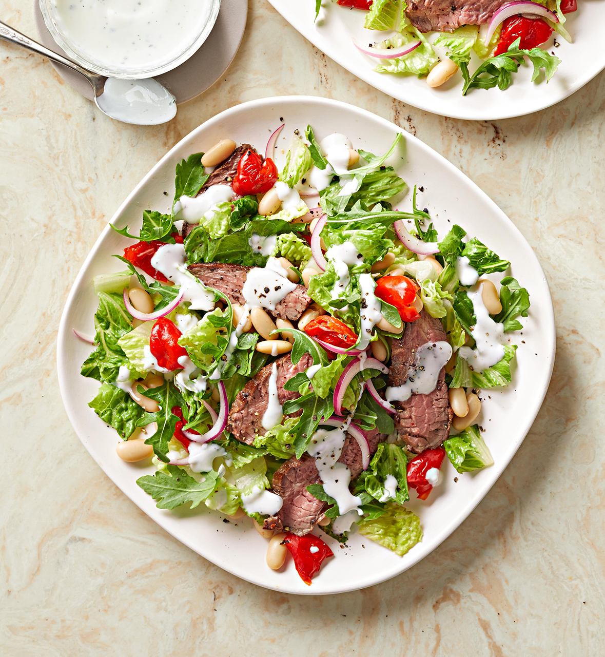 Steak Salad with White Beans Peppers and Greek Yogurt Ranch Dressing