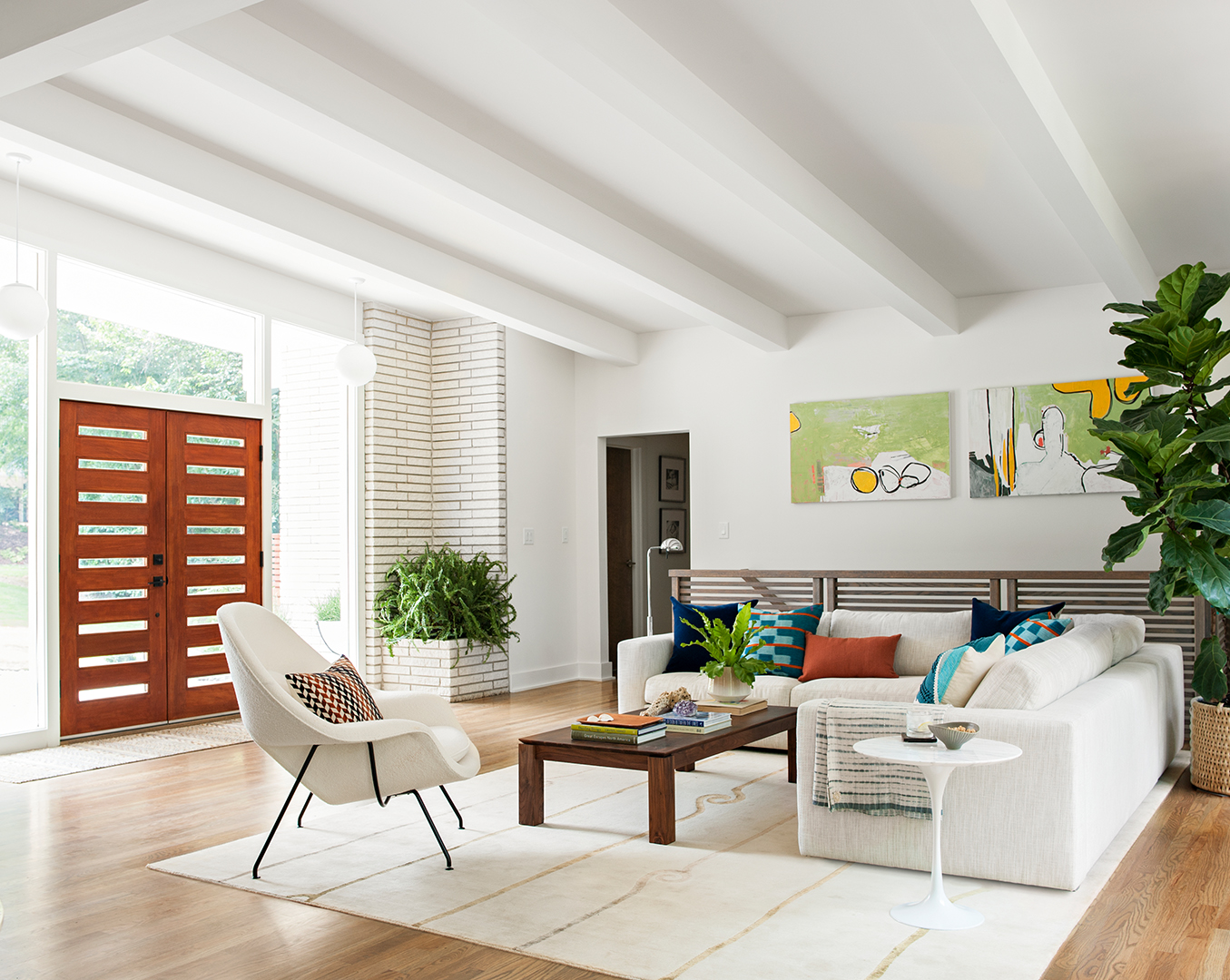remodeled living room with wood style doors