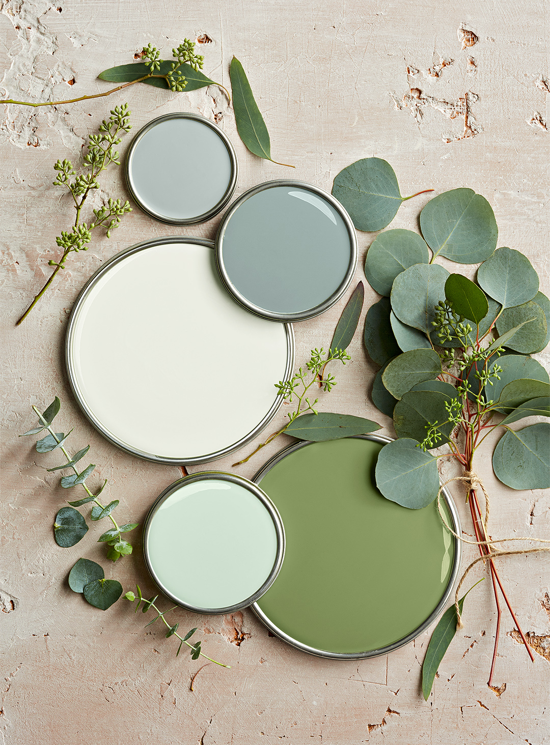 neutral green paint lids with leaves and branches