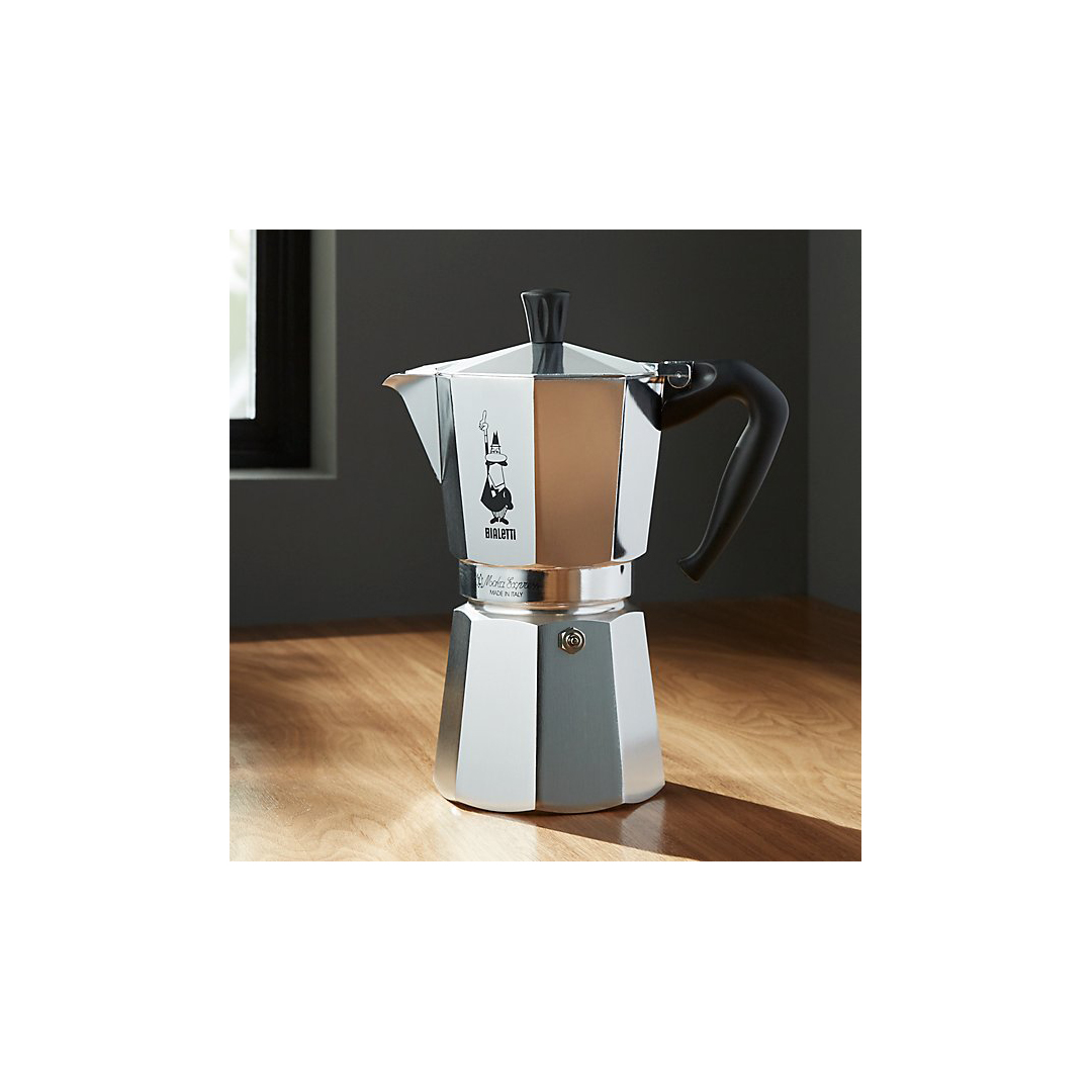 9-Cup Espresso Maker with cartoon character icon