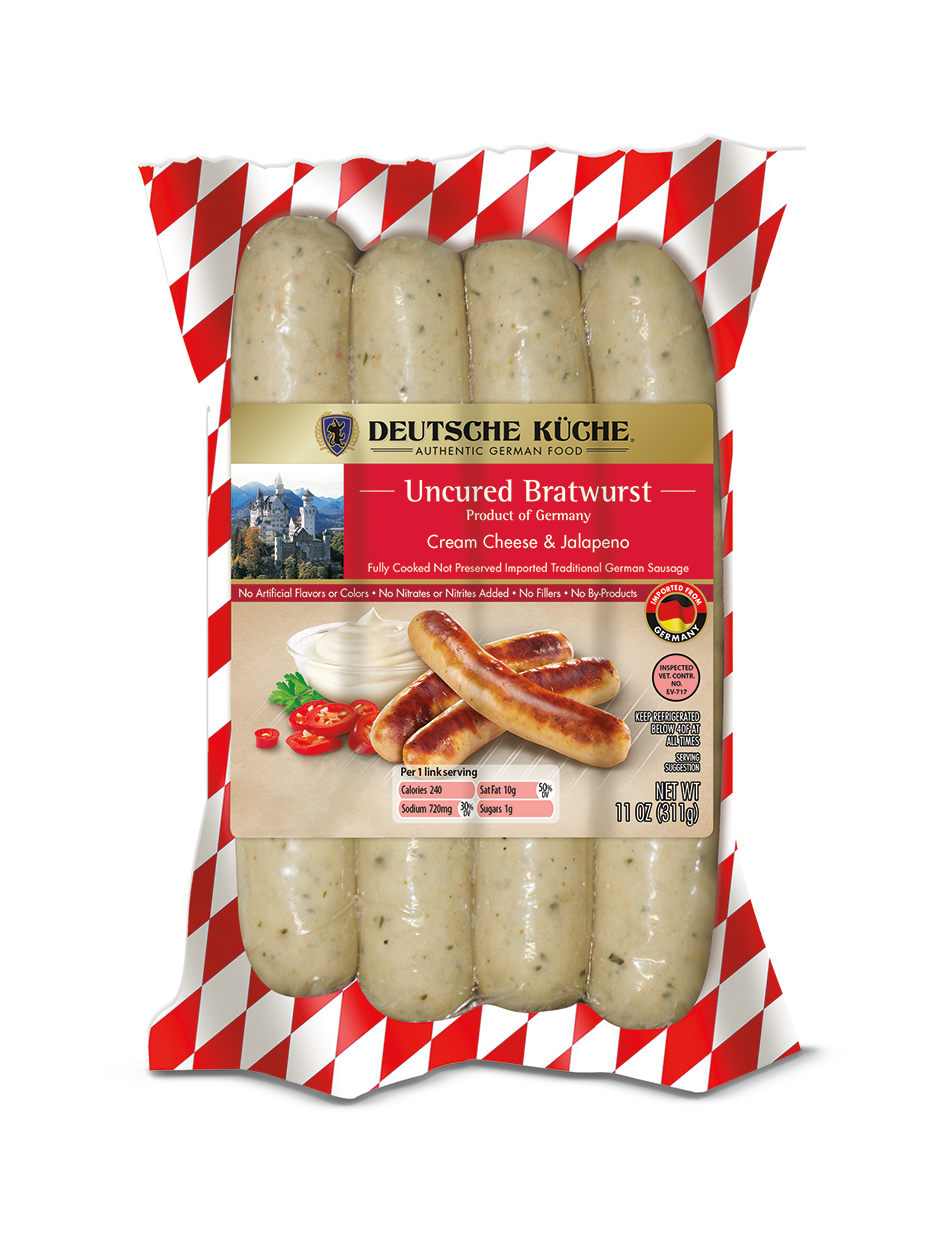 Aldi cream cheese and jalapeno brats on white background