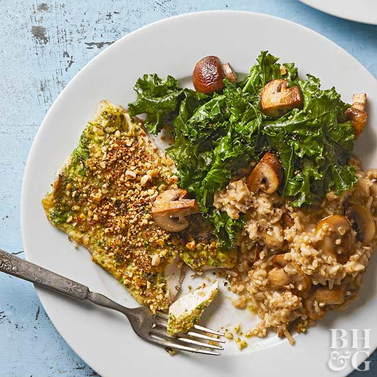 Almond-Pesto Fish with Kale and Mushroom Grain Bowls