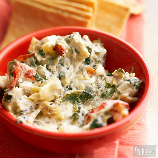 Spinach-Artichoke Dip with Blue Cheese and Bacon