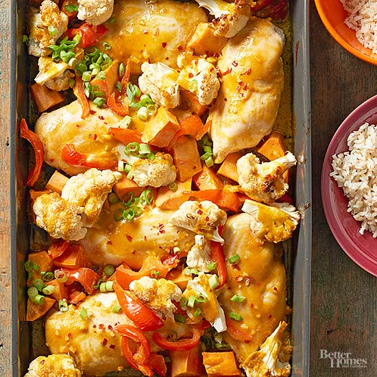 Baked Curried Chicken with Roasted Cauliflower