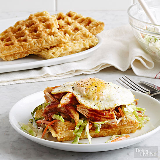 Barbecue Chicken and Ramen Waffles
