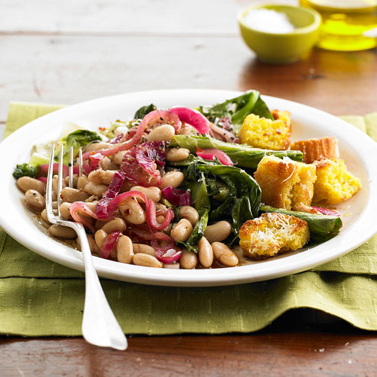 Beans and Greens with Corn Bread Croutons