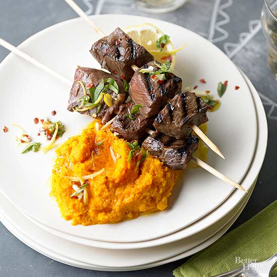 Spiced Beef Kabobs with Mashed Carrots