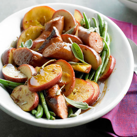 Beer-Glazed Sausage and Apples