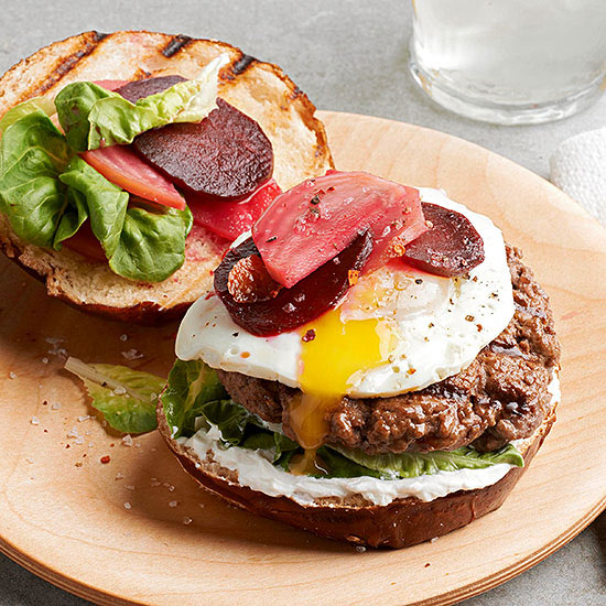Burger with Pickled Beets and Fried Egg