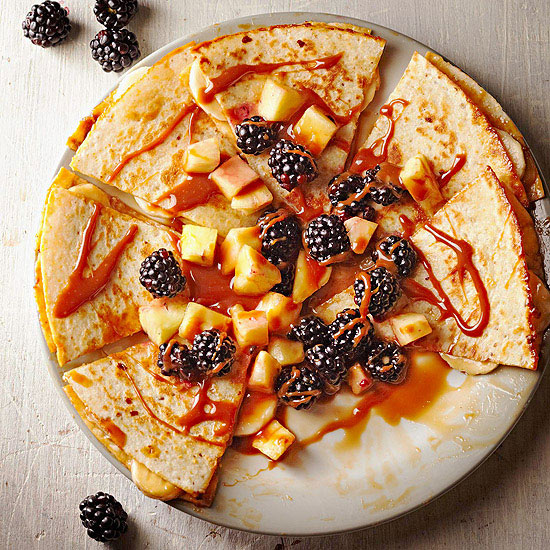 Cajeta Quesadillas with Fruit Salsa