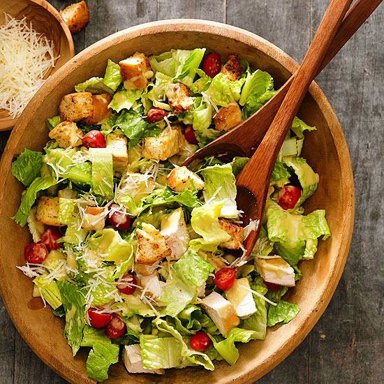Chicken Caesar Salad with Parmesan Croutons