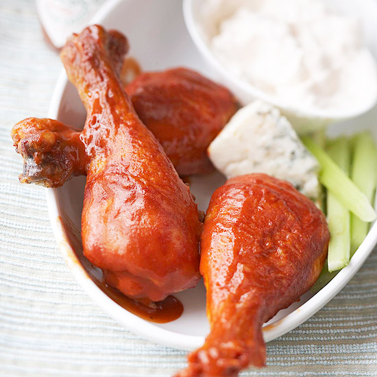 Buffalo Chicken Drumsticks with Blue Cheese Dip