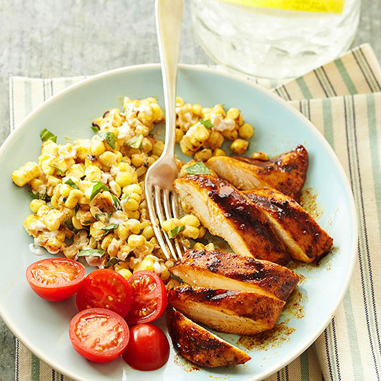 Grilled Chicken and Creamy Corn