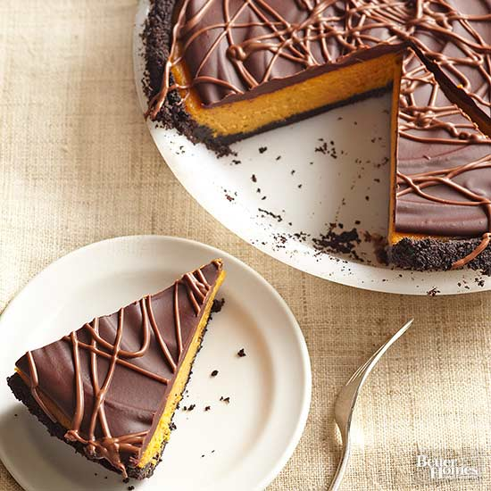Chocolate-Glazed Creamy Pumpkin Pie