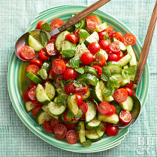 Cucumber, Tomatoes, and Mint