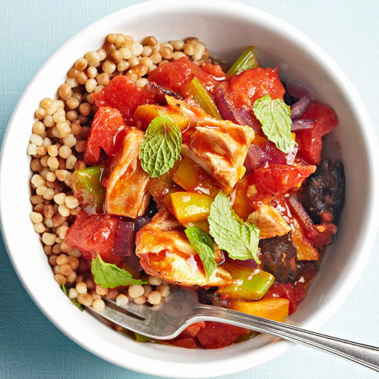 Curried Salmon with Tomatoes and Dried Plums