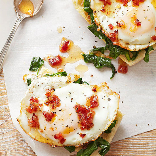 Egg, Spinach, and Bacon Chutney Tartines