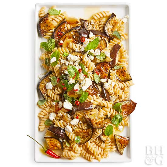 Eggplant, Garlic, and Herb Pasta