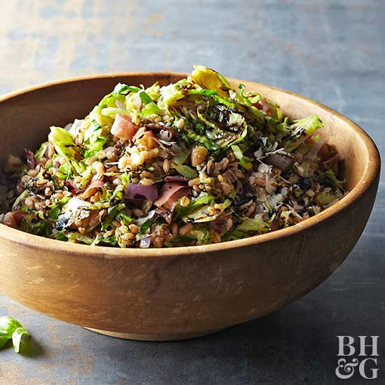 Farro and Brussels Sprouts with Prosciutto