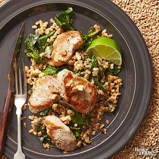 Garlic-Lime Pork with Farro and Kale