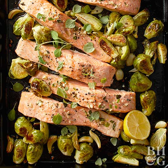 Garlic Roasted Salmon and Brussels Sprouts