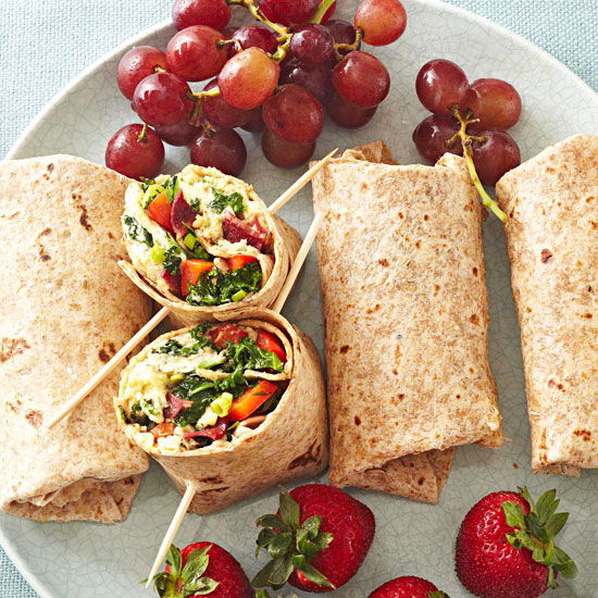 Greens and Bacon Omelet Wraps