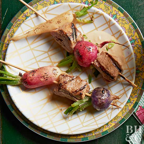 Grilled Ginger Pork & Radish Skewers