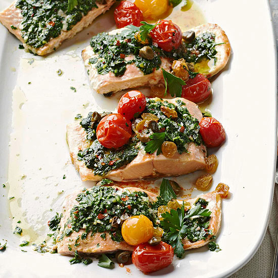 Herb-Crusted Salmon with Roasted Tomatoes