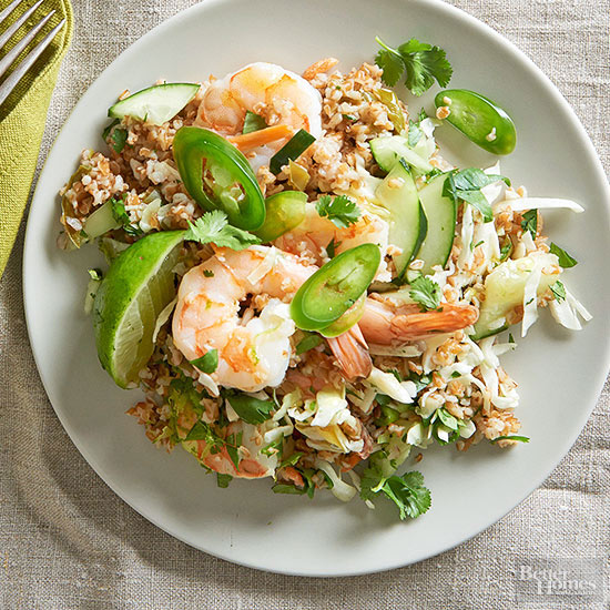 Herb-Ginger Bulgur with Shrimp