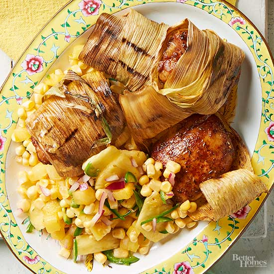Husk-Wrapped Chicken & Corn Relish