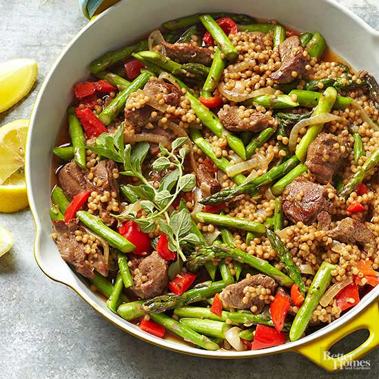 Lamb Fatteh with Asparagus