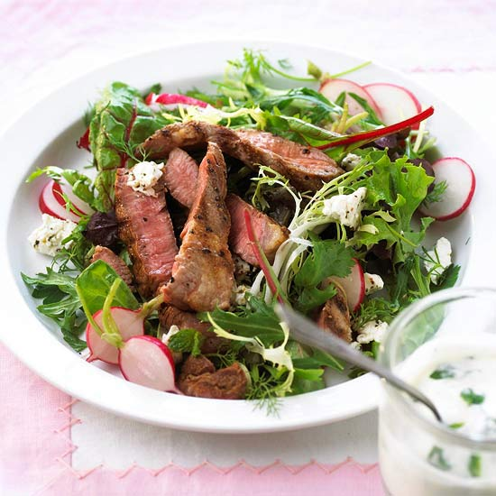 Herbed Lamb Steak Salads
