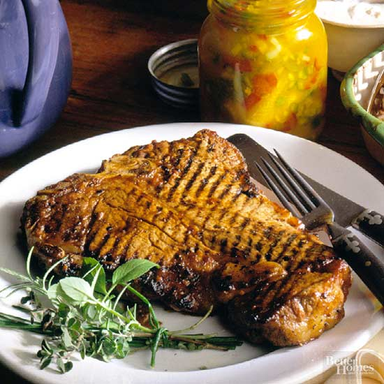 Beer-Marinated Peppered T-Bones