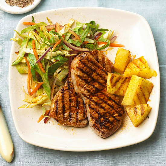 Chops and Pineapple with Chili Slaw