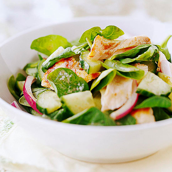 Salmon and Spinach Salad with Flaxseed Dressing