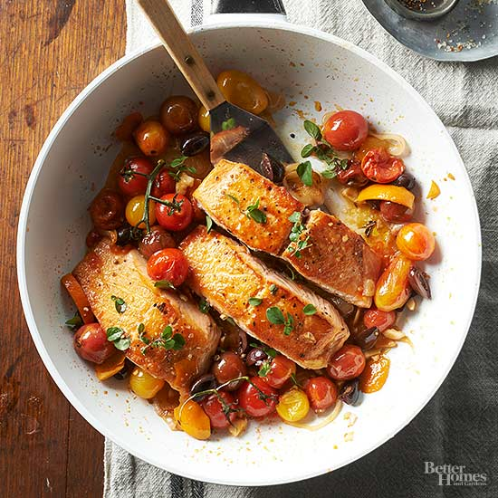 Salmon with Tomatoes and Olives