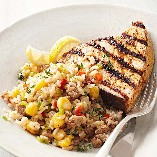 Blackened Swordfish with Hominy Dirty Rice