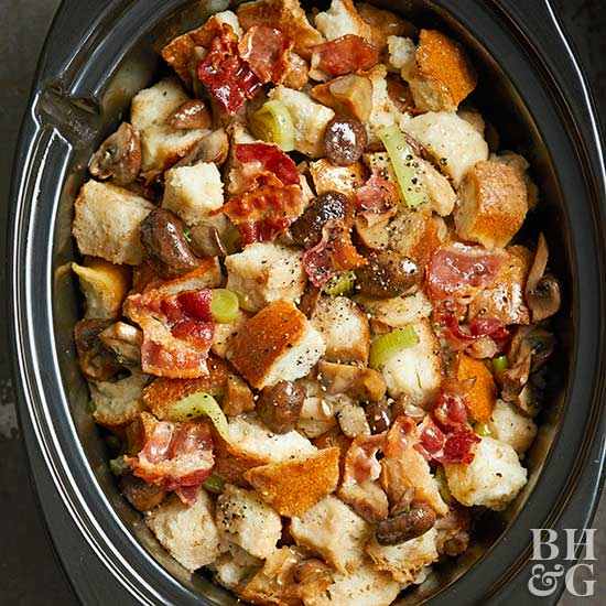 Slow Cooker Chestnut-Bacon Stuffing