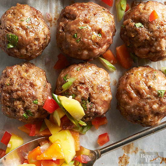 Sweet and Spicy Meatballs with Mango Salsa